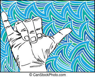 Bosquejo, oleaje, mano, vector, Ilustración