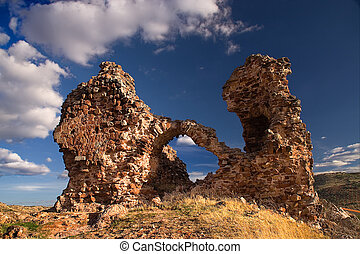 castle of alcaraz - ruins of an ancient castle in albacete...