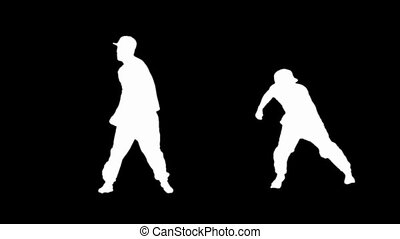 Silhouette of young man breakdance - Silhouette of a young...