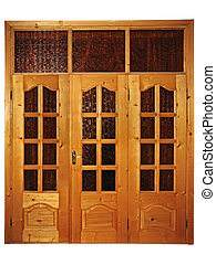 Closed natural wooden triple door with glass isolated over...