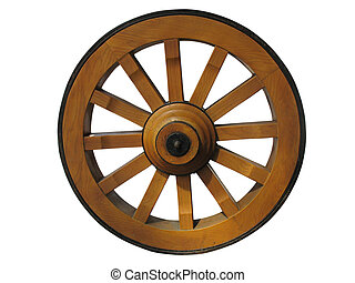 Antique Cart Wheel made of wood and iron-lined, isolated...
