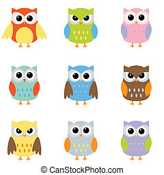 Color owls clip art - Owls with nine color combinations