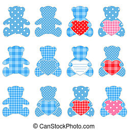 Twelve blue bears - Twelve blue teddy bears with hearts Nice...