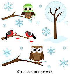 Set of winter elements - Winter set - birds on branches,...