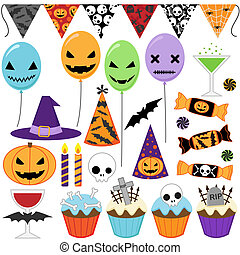 Halloween Party - Set of vector Halloween party elements