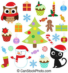 christmas set  - Christmas vector cute elements set