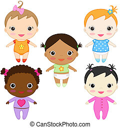 Baby girls - Six different happy baby girls