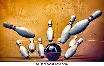 bowling pins isolated on sunburst background
