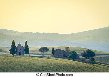 vitaleta, Italia,  Val,  Di, Toscana,  d'orcia,  cappella