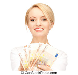woman with euro cash money - picture of lovely woman with...