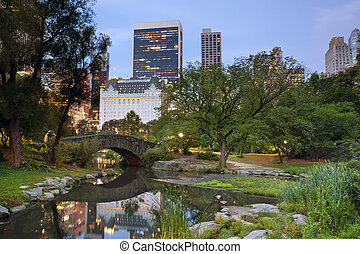 Central Park and Manhattan Skyline. - Image of Central Park...