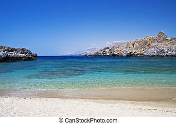 Landscape of Schinaria beach Crete Greece