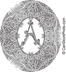 Hand draw font. Letter A. Vector illustration