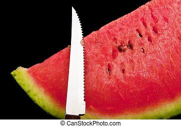 Watermelon  on the black background