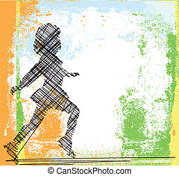 Sketch of running girl. Vector illustration