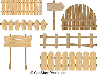 Fences - Set of wooden fences and signs