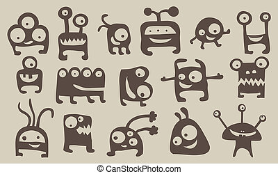 Monster set - Collection of cute monsters