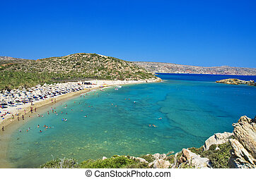 Landscape of Vai beach Crete Greece