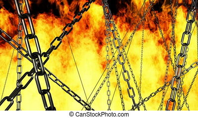 Chains and Hell Fire Looping Animated Background