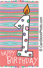 Illustration of Number 1 Birthday Candles with colorful...