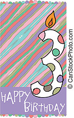 Illustration of Number 3 Birthday Candles with colorful background. vector illustration