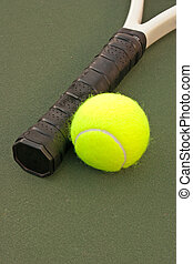 Yellow Tennis Balls - 17 - New yellow tennis balls on a...