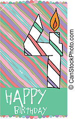 Illustration of Number 4 Birthday Candles with colorful...