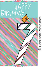 Illustration of Number 7 Birthday Candles with colorful...