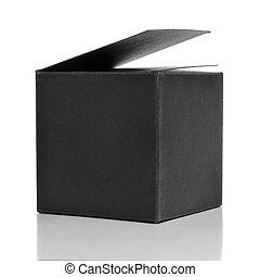 black cardboard box - a black cardboard box on a white...