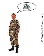 enlisted man - soldier in camouflage thinks of money