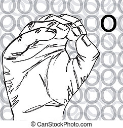 Hand Gestures, Letter O - Sketch of Sign Language Hand...
