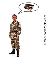 enlisted man in camouflage - soldier thinks of gun and money...