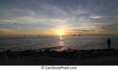 Sunset on the ocean Key West Florida