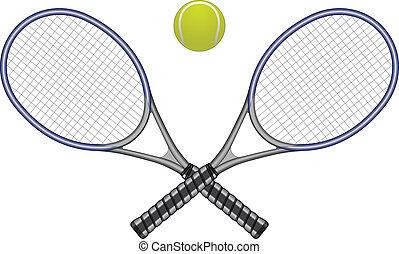tênis, bola, &, raquetes