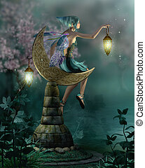 The NIght Watch - a little pixie with a lantern sitting on a...