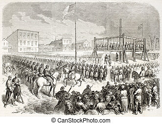 Execution - Thirty-eight native Americans hanged in Mankato,...