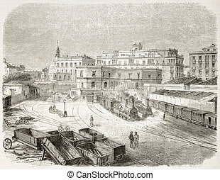 Naples railway station old illustration, Italy Rome-Naples...