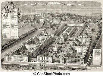 Hospice-des-Menages old bird-eye view, Issy, France. Created...