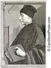 Vittorino da Feltre old engraved portrait (Italian...