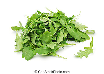 rucola leaves on white background
