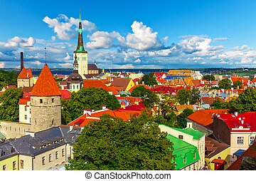 Panorama of Tallinn, Estonia - Scenic summer aerial panorama...