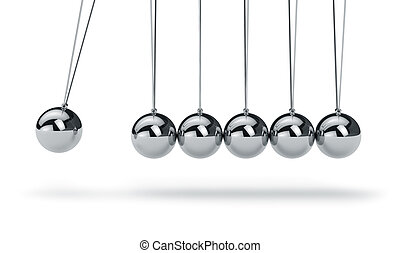 Newtons cradle - Metal Newtons cradle isolated on white...