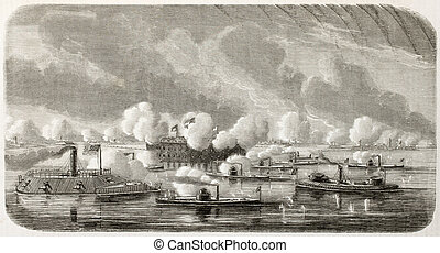 Charleston attack - American civil war: Union fleet bombing...