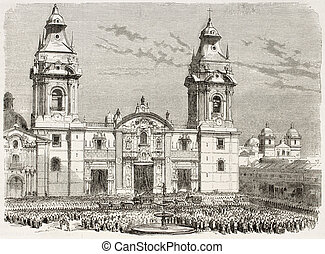Cathedral of Lima old view, Peru (funeral procession of...