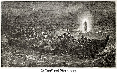 Christ on the sea - Christ walking on the sea, old...