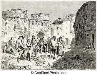 Romancero burgales old illustration, Spain (traditional...