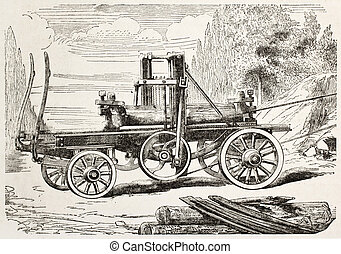 Traction engine saw - Traction engine owering a saw bench,...