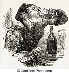 Drink - Man drinking wine old illustration Created by...