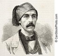 Nubar-Bey old engraved portrait, Egypt viceroy adviser....