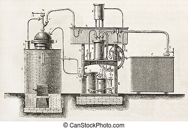 Industrial cooling apparatus old schematic illustration....